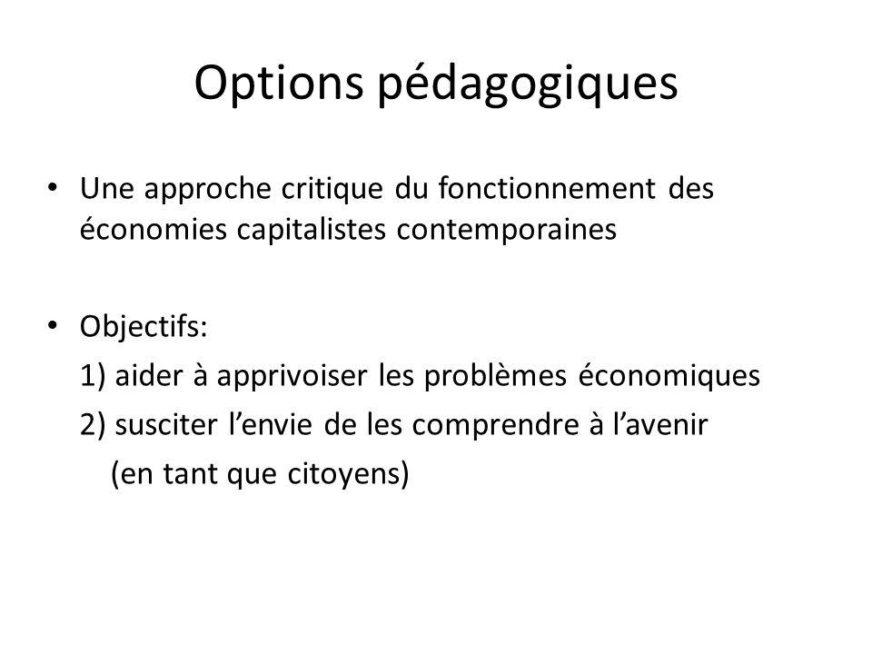 Options pédagogiques Une approche critique du fonctionnement des économies capitalistes contemporaines Objectifs: 1) aider à apprivoiser les problèmes