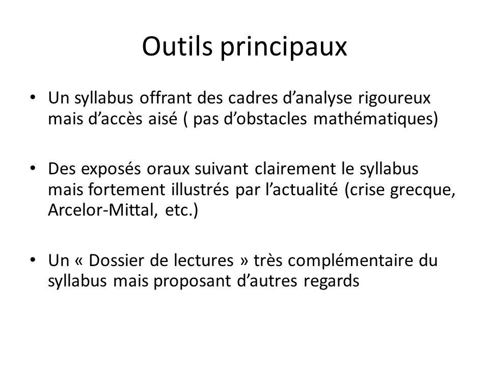 Outils principaux Un syllabus offrant des cadres danalyse rigoureux mais daccès aisé ( pas dobstacles mathématiques) Des exposés oraux suivant clairem
