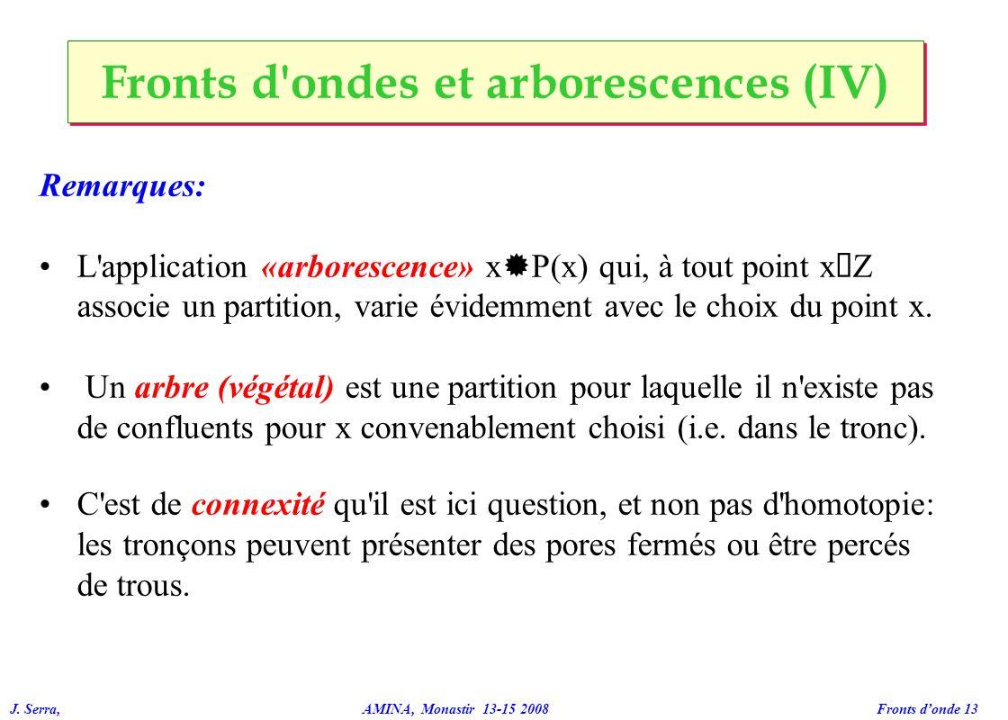 J. Serra, AMINA, Monastir 13-15 2008 Fronts donde 13 Fronts d'ondes et arborescences (IV) Remarques: L'application «arborescence» x ® P(x) qui, à tout