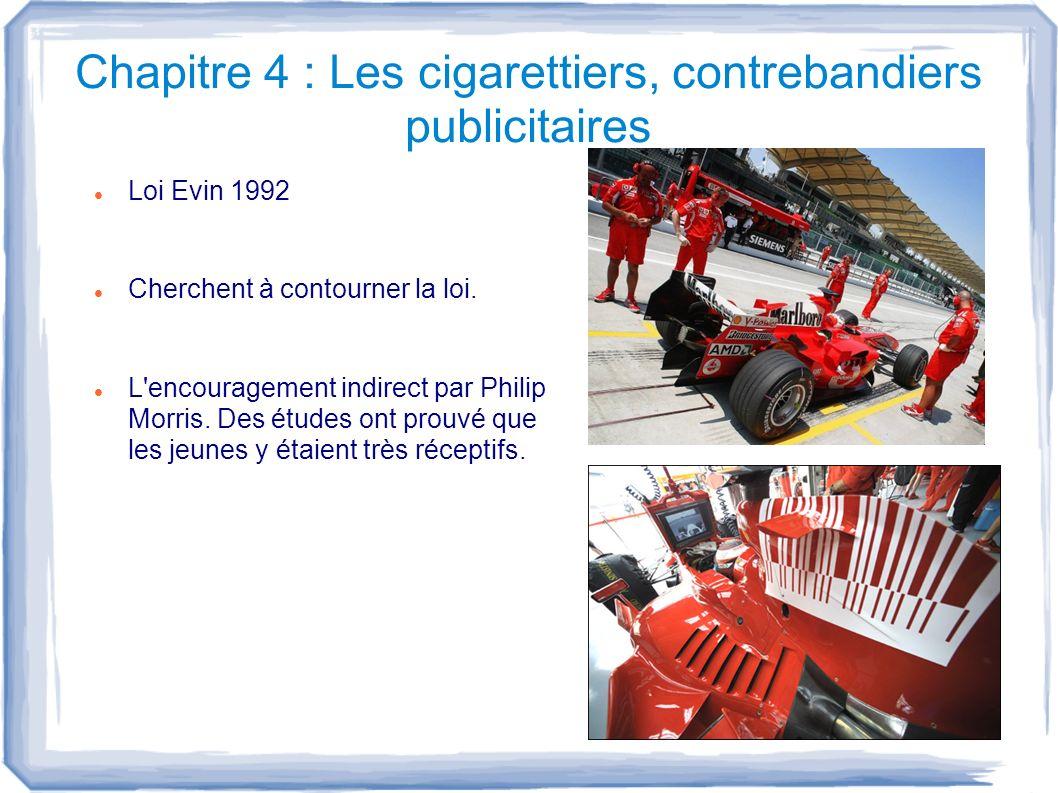 Chapitre 4 : Les cigarettiers, contrebandiers publicitaires Loi Evin 1992 Cherchent à contourner la loi. L'encouragement indirect par Philip Morris. D