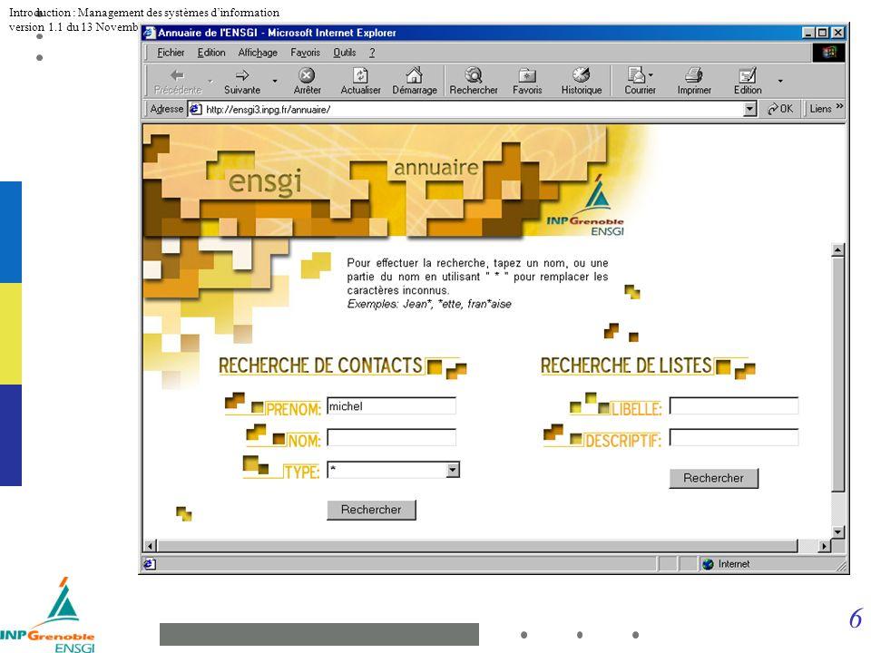 7 Introduction : Management des systèmes dinformation version 1.1 du 13 Novembre 2001