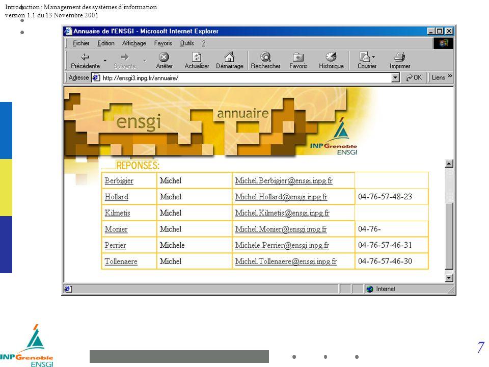 8 Introduction : Management des systèmes dinformation version 1.1 du 13 Novembre 2001