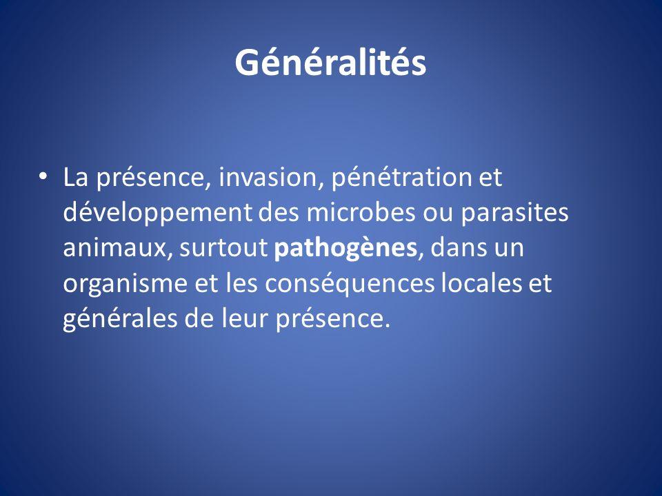 Généralités La présence, invasion, pénétration et développement des microbes ou parasites animaux, surtout pathogènes, dans un organisme et les conséq
