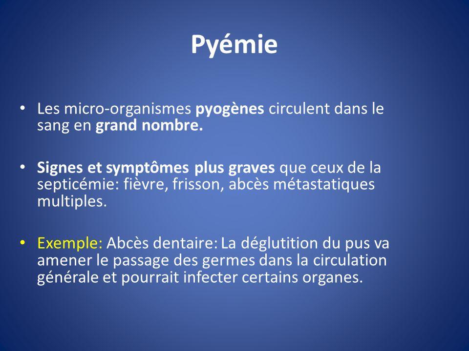 Pyémie Les micro-organismes pyogènes circulent dans le sang en grand nombre. Signes et symptômes plus graves que ceux de la septicémie: fièvre, frisso