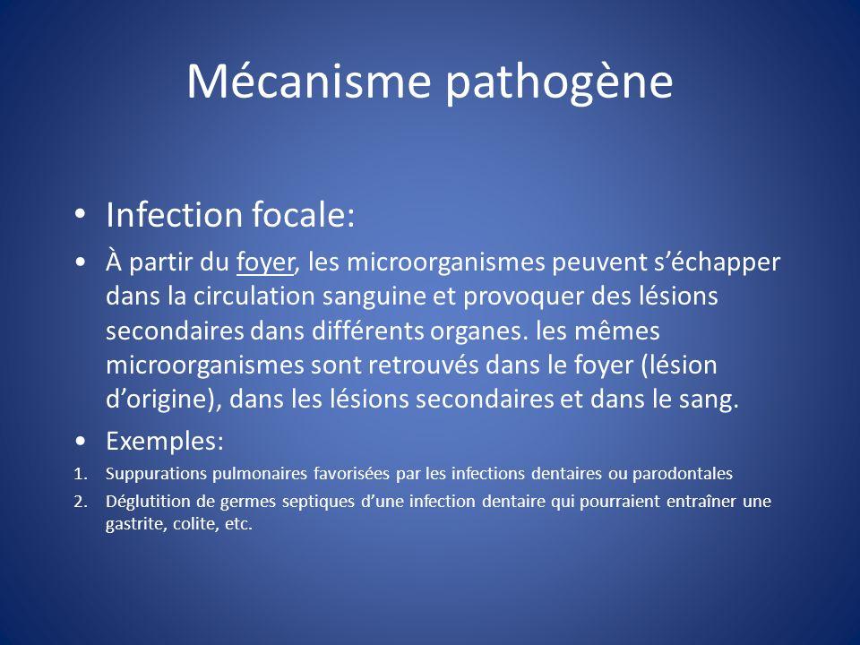 Mécanisme pathogène Infection focale: À partir du foyer, les microorganismes peuvent séchapper dans la circulation sanguine et provoquer des lésions s