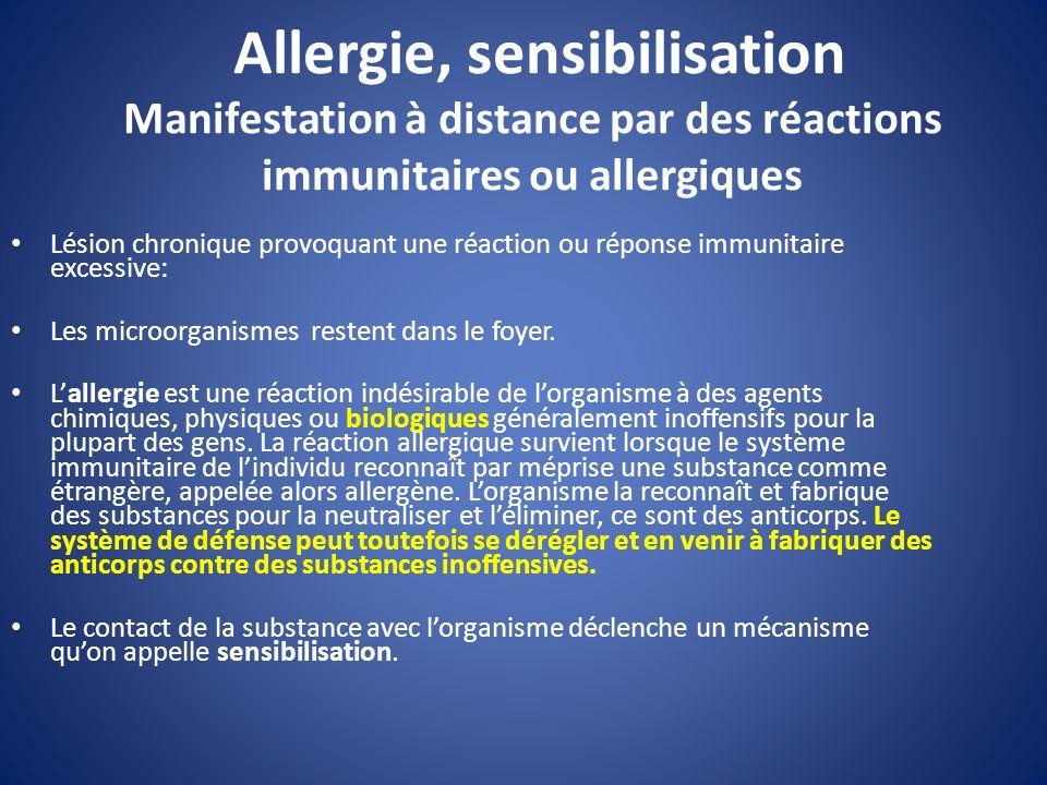 Allergie, sensibilisation Manifestation à distance par des réactions immunitaires ou allergiques Lésion chronique provoquant une réaction ou réponse i