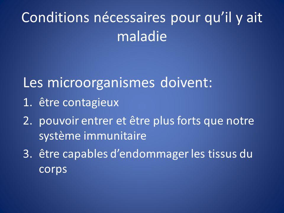 Conditions nécessaires pour quil y ait maladie Les microorganismes doivent: 1.être contagieux 2.pouvoir entrer et être plus forts que notre système im