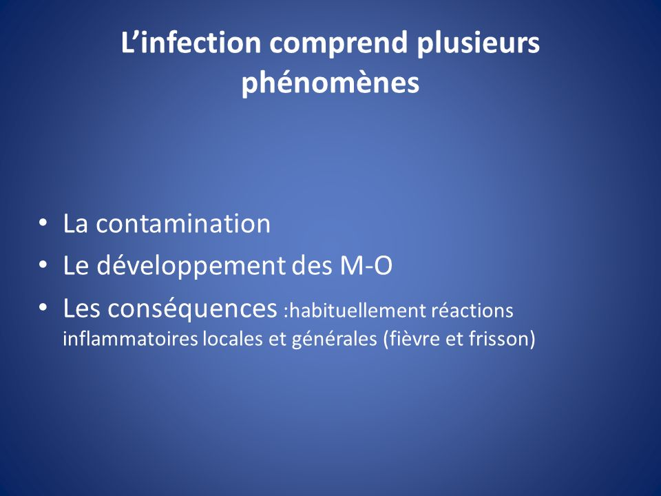 Linfection comprend plusieurs phénomènes La contamination Le développement des M-O Les conséquences :habituellement réactions inflammatoires locales e