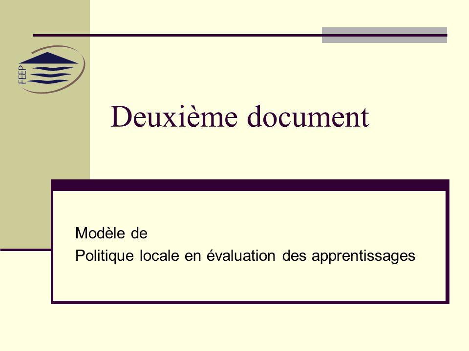 Deuxième document Modèle de Politique locale en évaluation des apprentissages