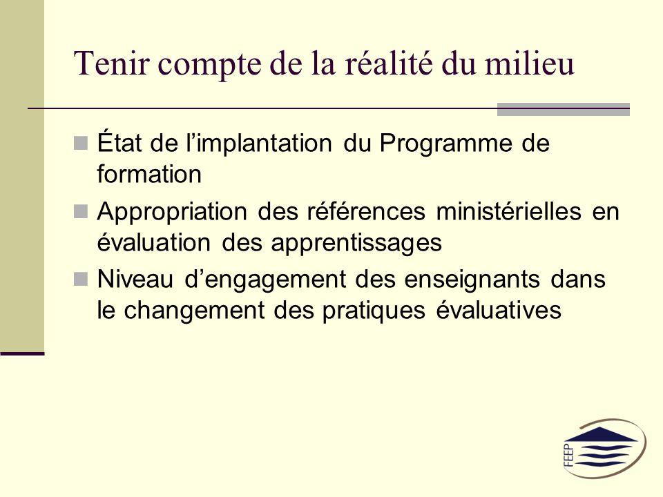 Tenir compte de la réalité du milieu État de limplantation du Programme de formation Appropriation des références ministérielles en évaluation des apprentissages Niveau dengagement des enseignants dans le changement des pratiques évaluatives