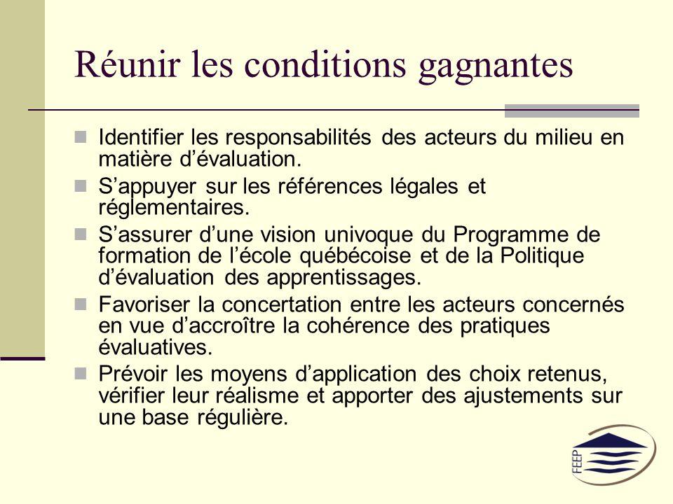 Réunir les conditions gagnantes Identifier les responsabilités des acteurs du milieu en matière dévaluation.