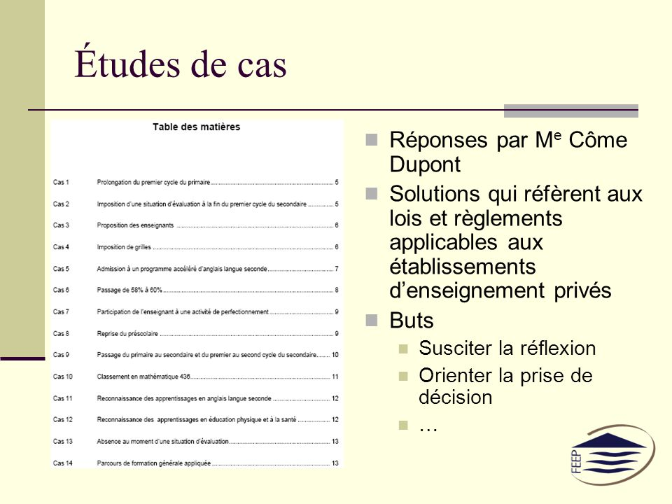 Réponses par M e Côme Dupont Solutions qui réfèrent aux lois et règlements applicables aux établissements denseignement privés Buts Susciter la réflexion Orienter la prise de décision …