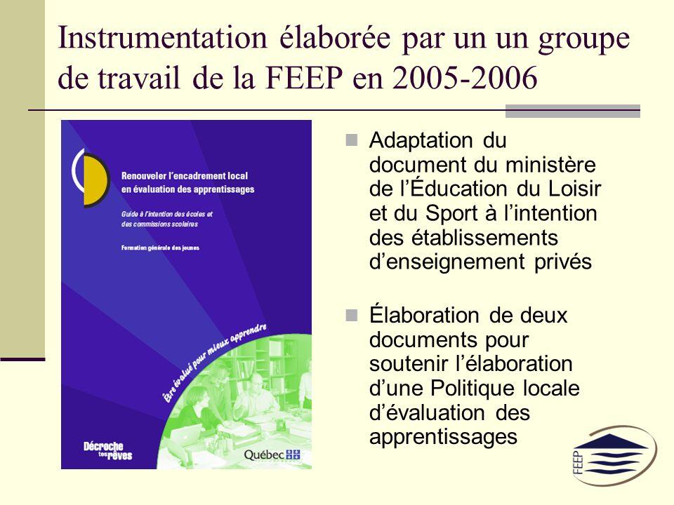 Instrumentation élaborée par un un groupe de travail de la FEEP en 2005-2006 Adaptation du document du ministère de lÉducation du Loisir et du Sport à lintention des établissements denseignement privés Élaboration de deux documents pour soutenir lélaboration dune Politique locale dévaluation des apprentissages