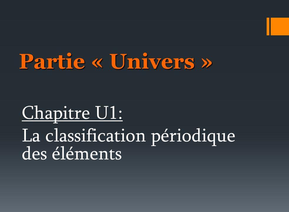 Partie « Univers » Chapitre U1: La classification périodique des éléments