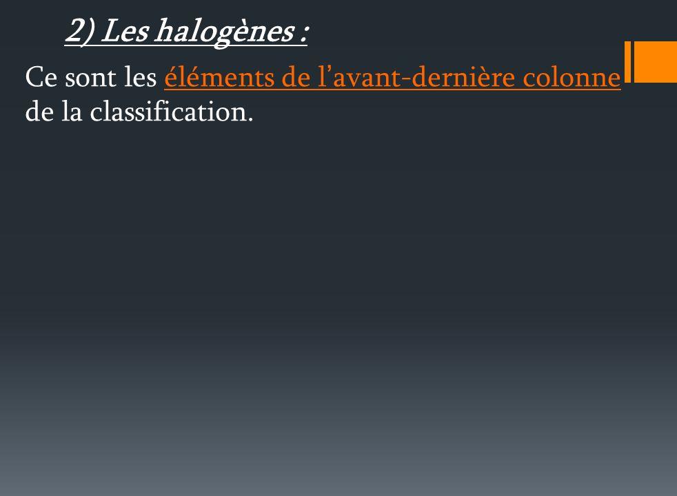 II. Les familles d éléments : 1) Les alcalins : Ce sont les éléments de la première colonne (Hydrogène mis à part). Ils ont un électron sur leur couch