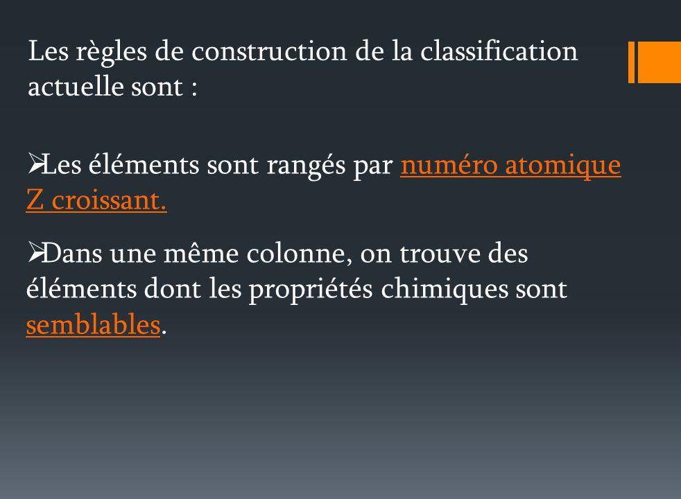 Les règles de construction de la classification actuelle sont : Les éléments sont rangés par numéro atomique Z croissant.
