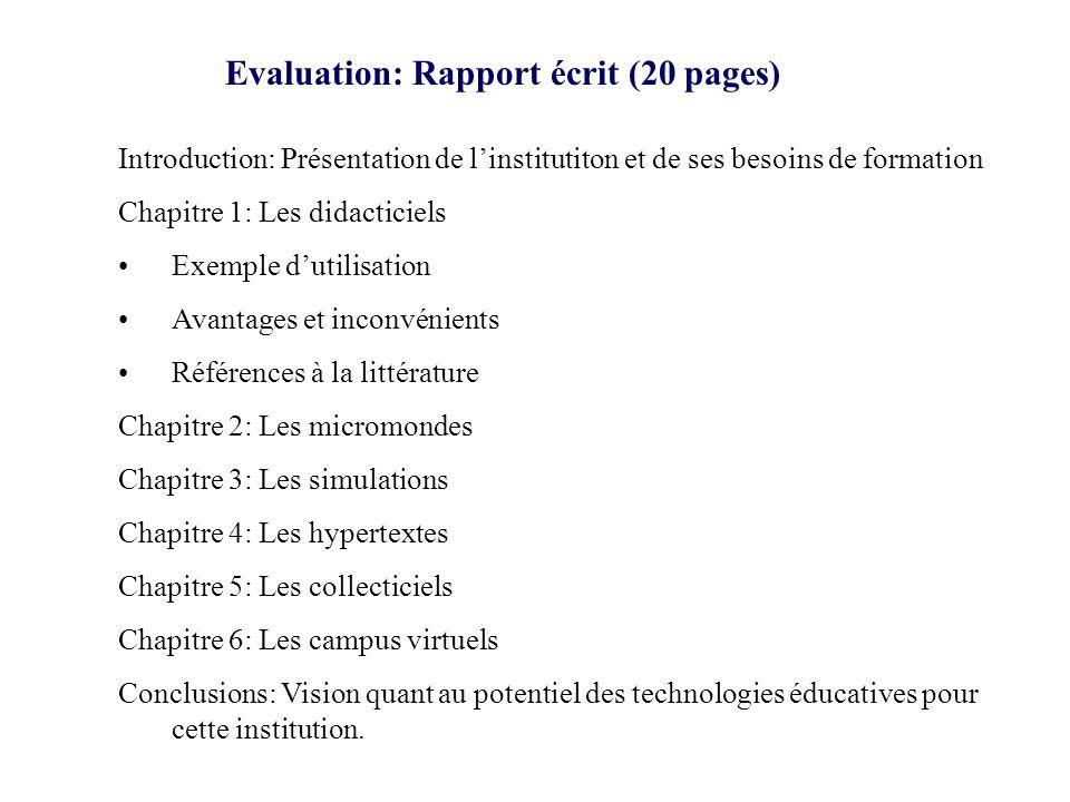 Organisation Chapitre X : [Famille de logiciels éducatifs] Cours 1: Présentation générale Cours 2- 2bis: « Hands on » Cours 3: Synthèse Cours 4: Projet