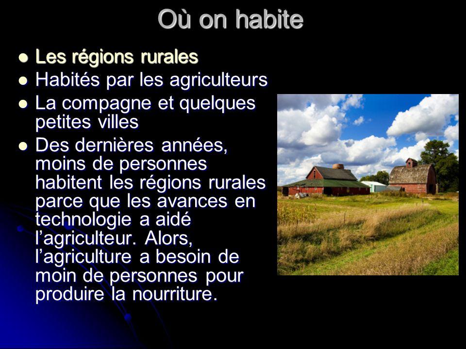 Où on habite Les régions rurales Les régions rurales Habités par les agriculteurs Habités par les agriculteurs La compagne et quelques petites villes La compagne et quelques petites villes Des dernières années, moins de personnes habitent les régions rurales parce que les avances en technologie a aidé lagriculteur.