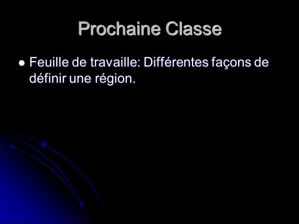 Prochaine Classe Feuille de travaille: Différentes façons de définir une région.