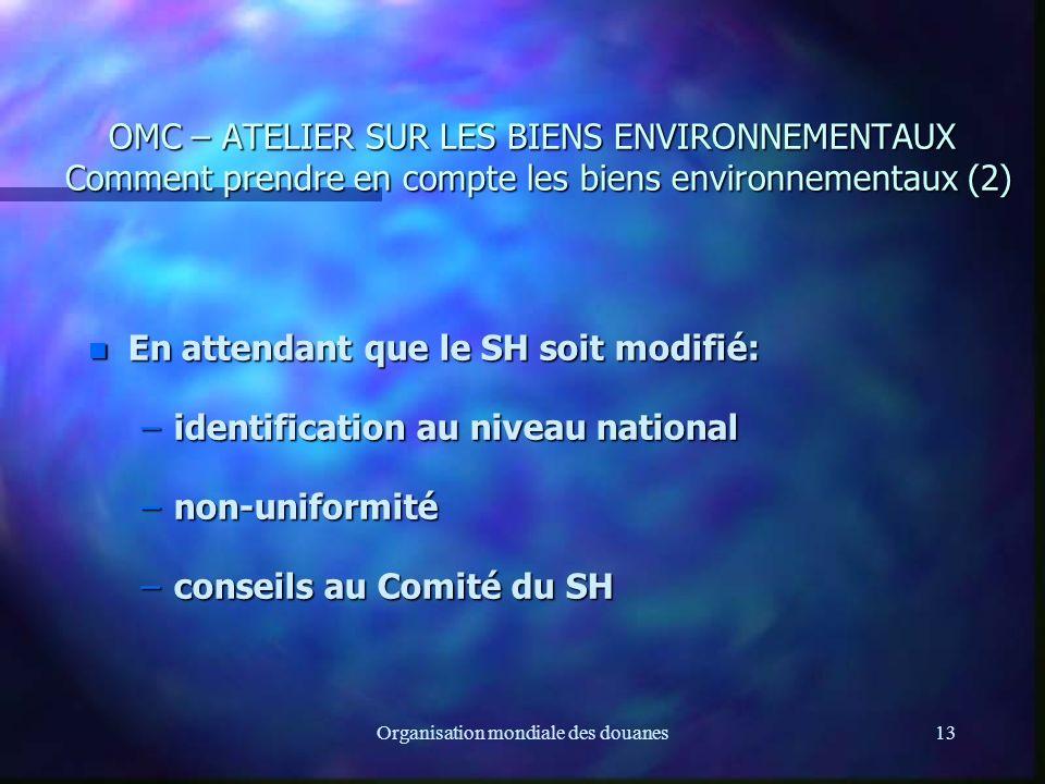 Organisation mondiale des douanes13 OMC – ATELIER SUR LES BIENS ENVIRONNEMENTAUX Comment prendre en compte les biens environnementaux (2) n En attendant que le SH soit modifié: –identification au niveau national –non-uniformité –conseils au Comité du SH