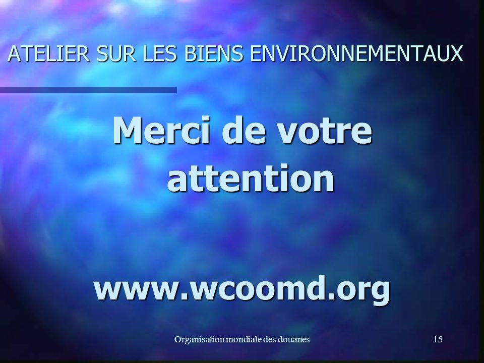 Organisation mondiale des douanes15 ATELIER SUR LES BIENS ENVIRONNEMENTAUX Merci de votre attention www.wcoomd.org