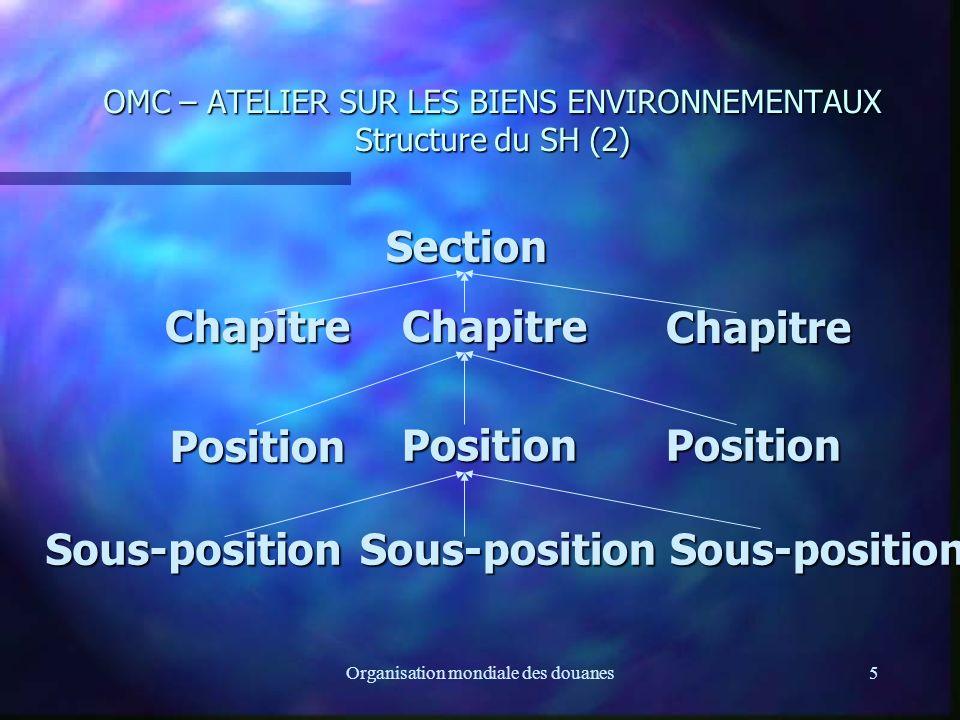 Organisation mondiale des douanes6 OMC – ATELIER SUR LES BIENS ENVIRONNEMENTAUX Structure du SH (3) n Notes de section et de chapitre: elles font partie intégrante du SH n Notes de sous-positions