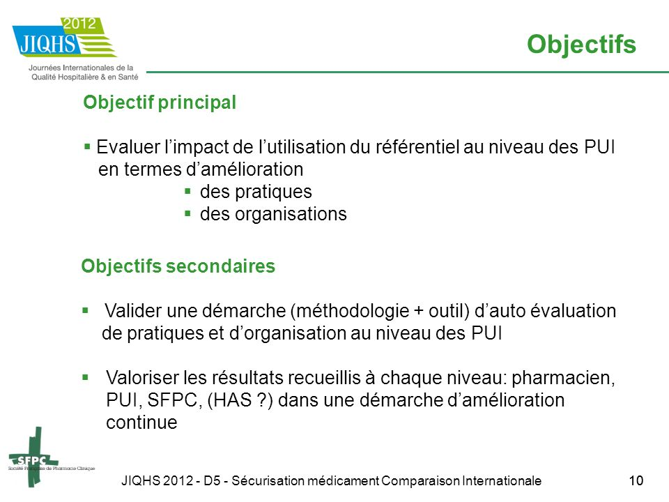 JIQHS 2012 - D5 - Sécurisation médicament Comparaison Internationale10 Objectifs Objectif principal Evaluer limpact de lutilisation du référentiel au