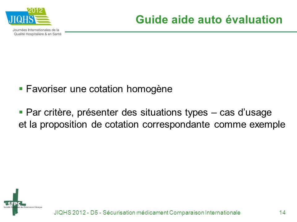 JIQHS 2012 - D5 - Sécurisation médicament Comparaison Internationale14 Guide aide auto évaluation Favoriser une cotation homogène Par critère, présent