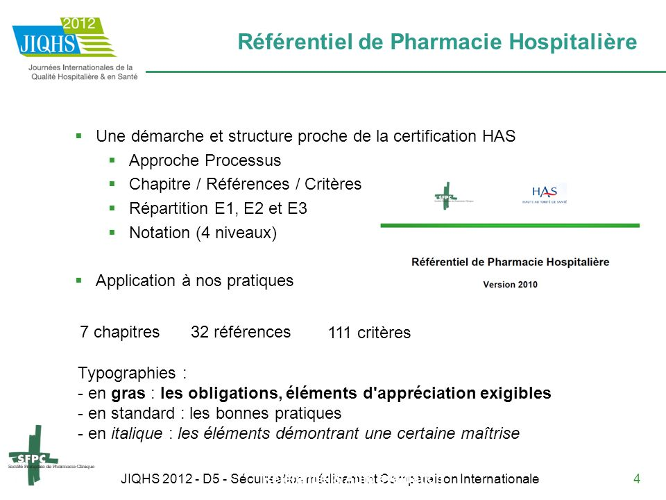 JIQHS 2012 - D5 - Sécurisation médicament Comparaison Internationale4 Référentiel de Pharmacie Hospitalière Référentiel & Auto évaluation Une démarche