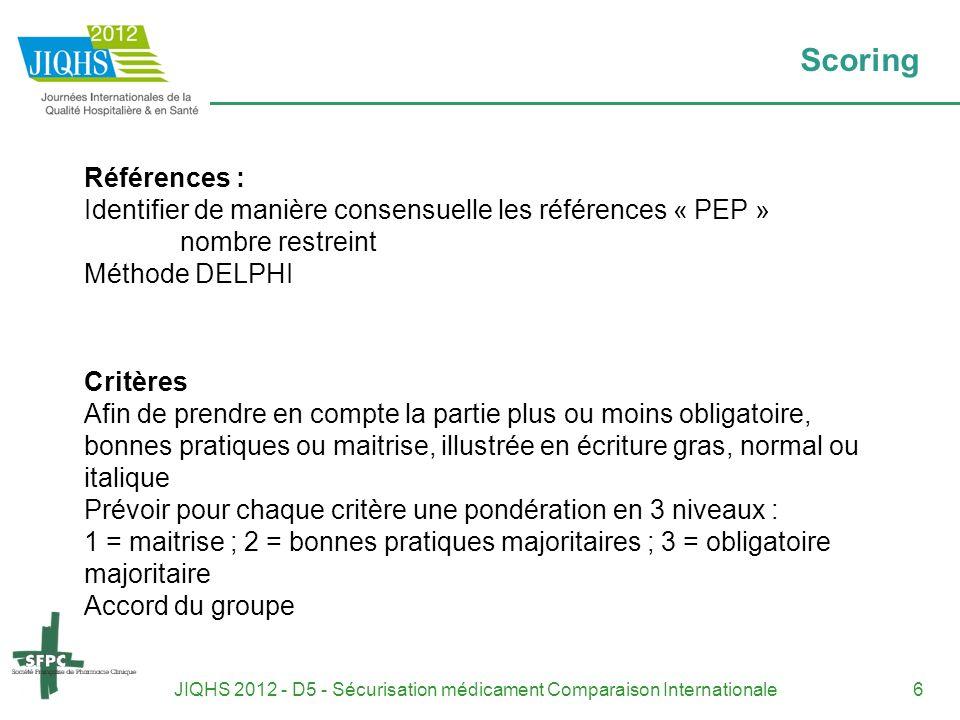 JIQHS 2012 - D5 - Sécurisation médicament Comparaison Internationale6 Scoring Références : Identifier de manière consensuelle les références « PEP » n