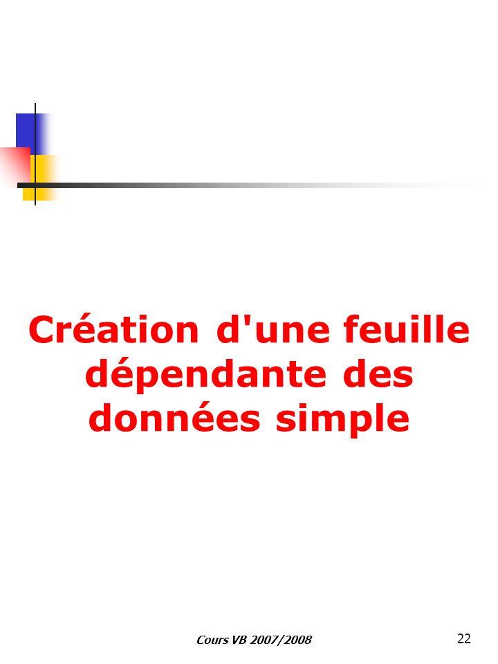 Cours VB 2007/2008 22 Création d'une feuille dépendante des données simple