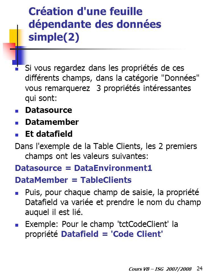 24 Cours VB – ISG 2007/2008 Création d'une feuille dépendante des données simple(2) Si vous regardez dans les propriétés de ces différents champs, dan
