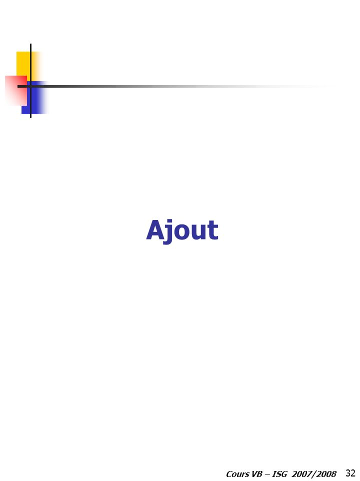 32 Cours VB – ISG 2007/2008 Ajout