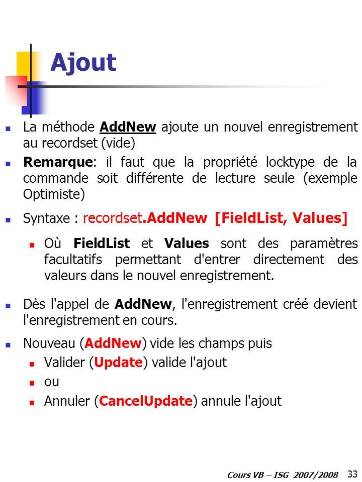 33 Cours VB – ISG 2007/2008 Ajout La méthode AddNew ajoute un nouvel enregistrement au recordset (vide) Remarque: il faut que la propriété locktype de