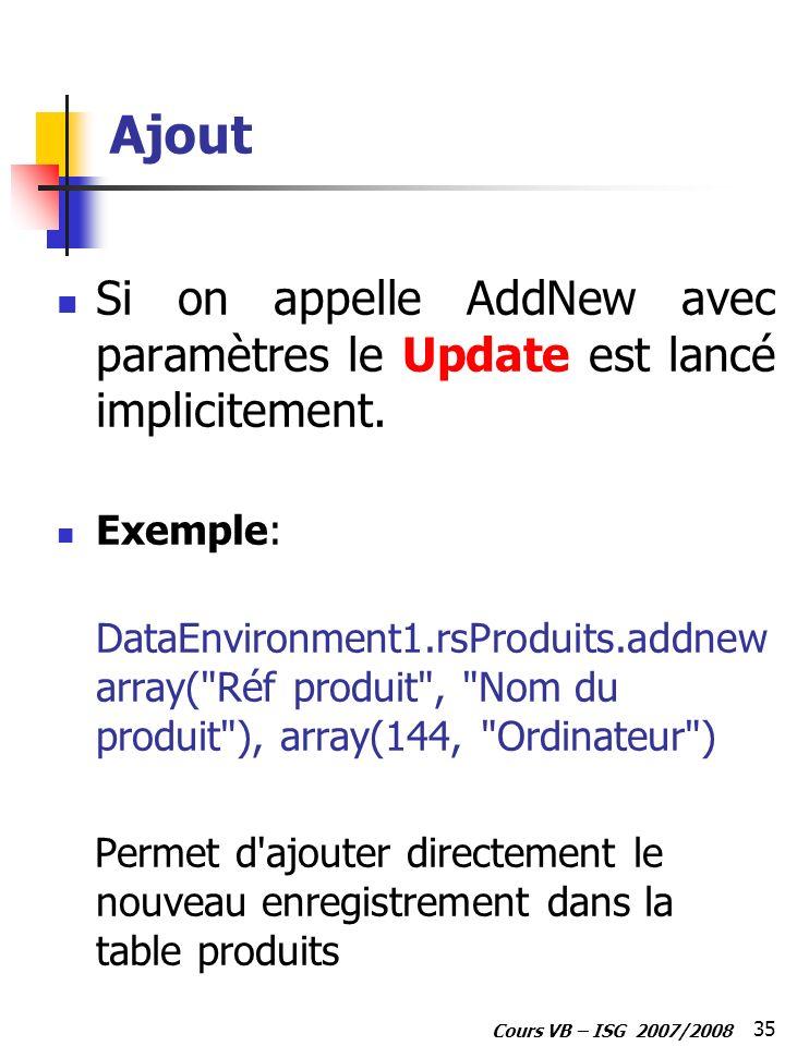 35 Cours VB – ISG 2007/2008 Ajout Si on appelle AddNew avec paramètres le Update est lancé implicitement. Exemple: DataEnvironment1.rsProduits.addnew