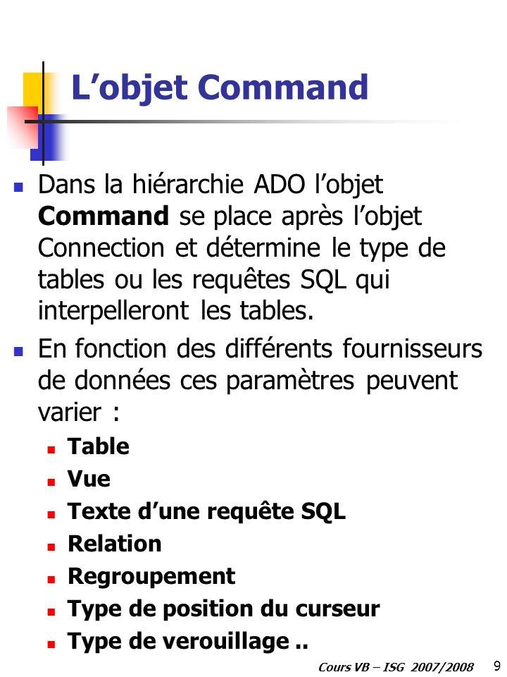 9 Cours VB – ISG 2007/2008 Lobjet Command Dans la hiérarchie ADO lobjet Command se place après lobjet Connection et détermine le type de tables ou les