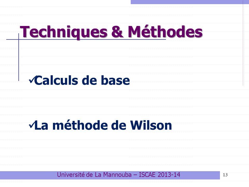 13 Techniques & Méthodes Calculs de base La méthode de Wilson Université de La Mannouba – ISCAE 2013-14