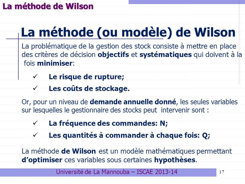 17 La méthode (ou modèle) de Wilson La problématique de la gestion des stock consiste à mettre en place des critères de décision objectifs et systémat