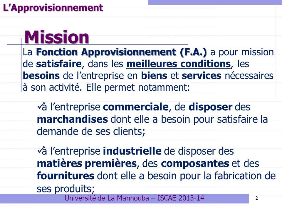 Mission 2LApprovisionnement Fonction Approvisionnement (F.A.) La Fonction Approvisionnement (F.A.) a pour mission de satisfaire, dans les meilleures c