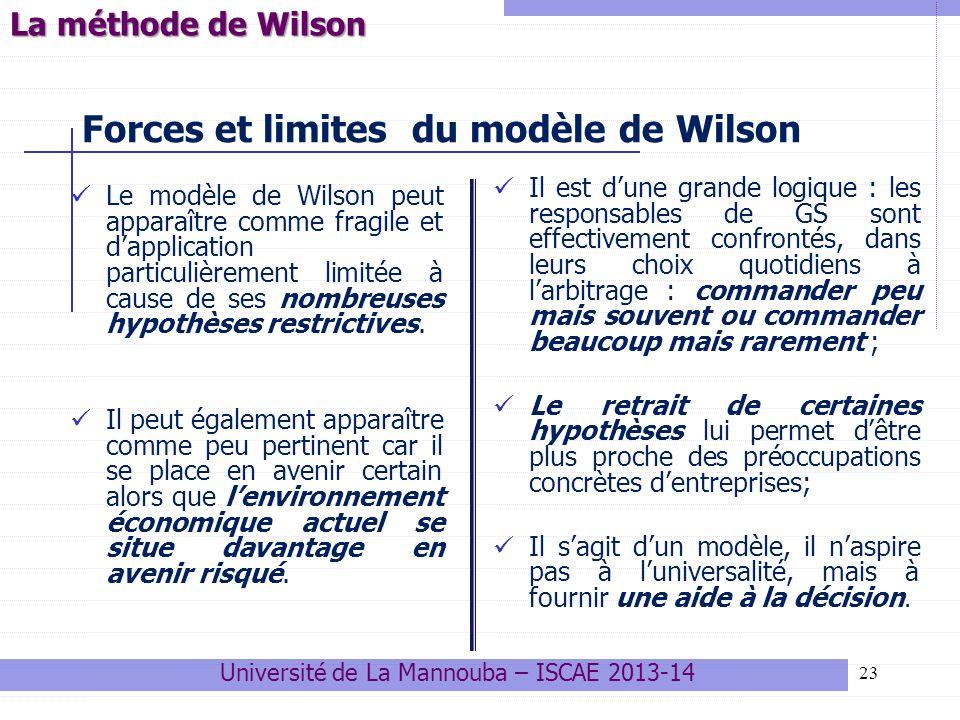 23 Forces et limites du modèle de Wilson Le modèle de Wilson peut apparaître comme fragile et dapplication particulièrement limitée à cause de ses nom