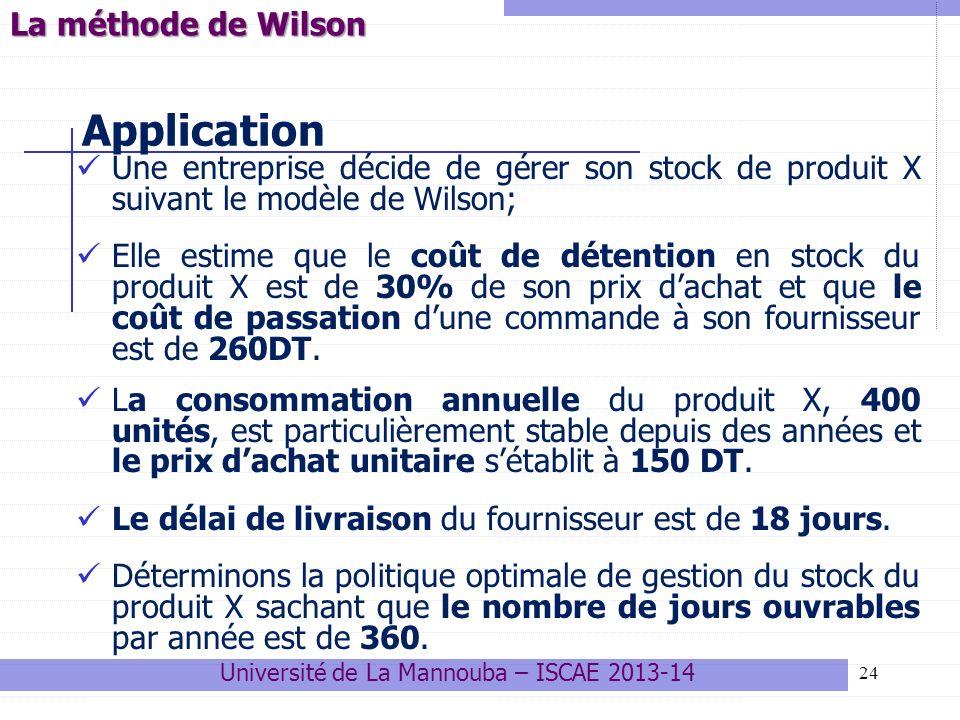 24 Application Une entreprise décide de gérer son stock de produit X suivant le modèle de Wilson; Elle estime que le coût de détention en stock du pro