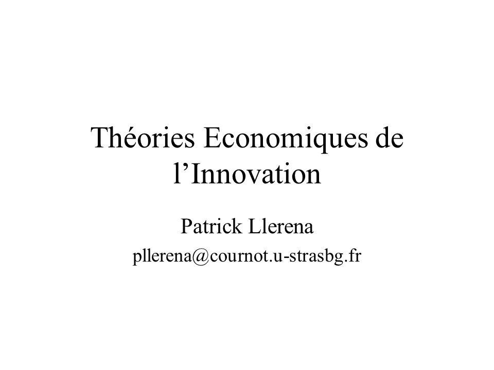 Théories Economiques de linnovation Chapitre 1: Introduction - cadrages Chapitre 2: Microéconomie de linnovation Chapitre 3: Diffusion Chapitre 4: Aspects macroéconomiques