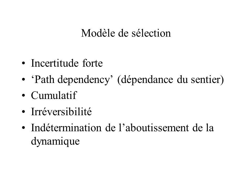 Modèle de sélection Incertitude forte Path dependency (dépendance du sentier) Cumulatif Irréversibilité Indétermination de laboutissement de la dynami