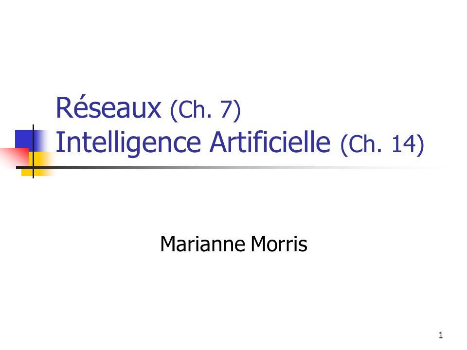 1 Réseaux (Ch. 7) Intelligence Artificielle (Ch. 14) Marianne Morris