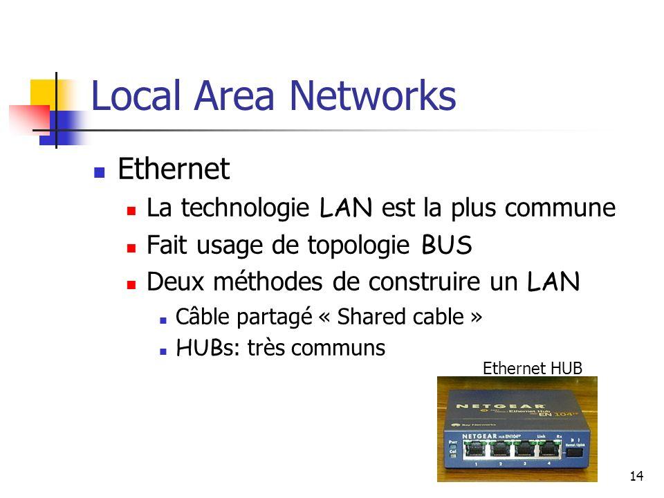 14 Local Area Networks Ethernet La technologie LAN est la plus commune Fait usage de topologie BUS Deux méthodes de construire un LAN Câble partagé « Shared cable » HUB s: très communs Ethernet HUB