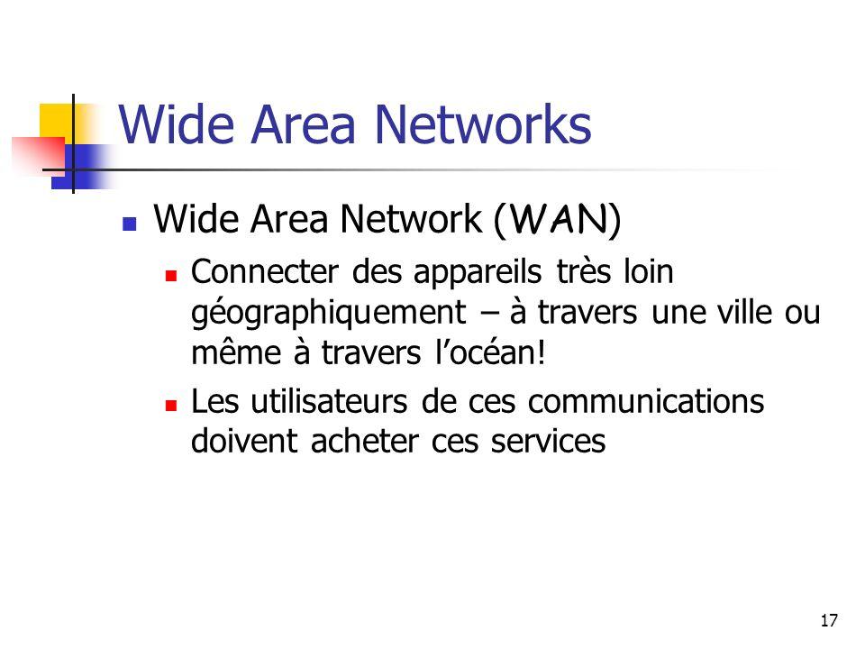 17 Wide Area Networks Wide Area Network ( WAN ) Connecter des appareils très loin géographiquement – à travers une ville ou même à travers locéan! Les