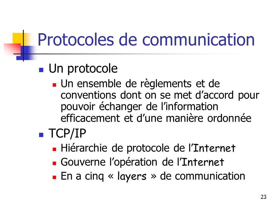 23 Protocoles de communication Un protocole Un ensemble de règlements et de conventions dont on se met daccord pour pouvoir échanger de linformation efficacement et dune manière ordonnée TCP/IP Hiérarchie de protocole de l Internet Gouverne lopération de l Internet En a cinq « layers » de communication