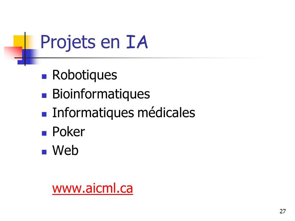 27 Projets en IA Robotiques Bioinformatiques Informatiques médicales Poker Web www.aicml.ca