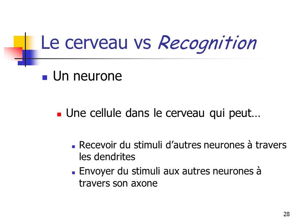 28 Le cerveau vs Recognition Un neurone Une cellule dans le cerveau qui peut… Recevoir du stimuli dautres neurones à travers les dendrites Envoyer du stimuli aux autres neurones à travers son axone