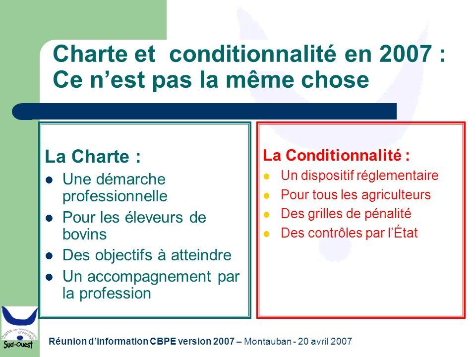 Réunion dinformation CBPE version 2007 – Montauban - 20 avril 2007 Charte et conditionnalité en 2007 : Ce nest pas la même chose La Charte : Une démar